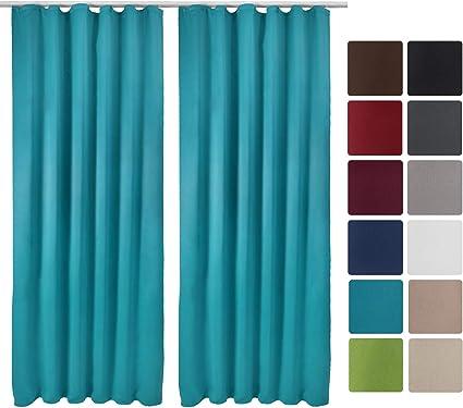 beautissu lot de 2 rideaux occultants uni a ruflette amelie 140x245 cm decoration interieur blackout turquoise
