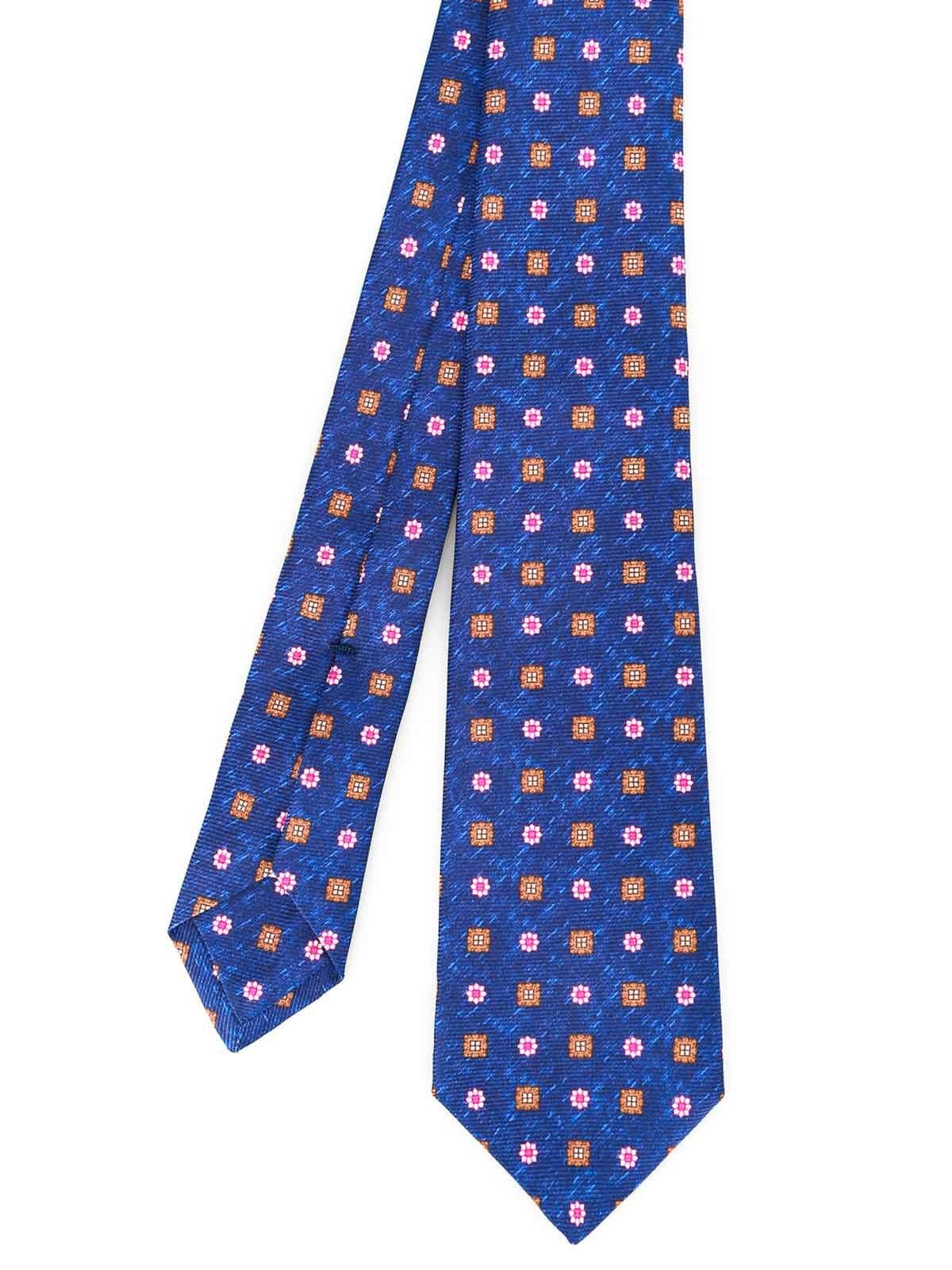 Kiton Men's 9E4103 Blue Silk Tie