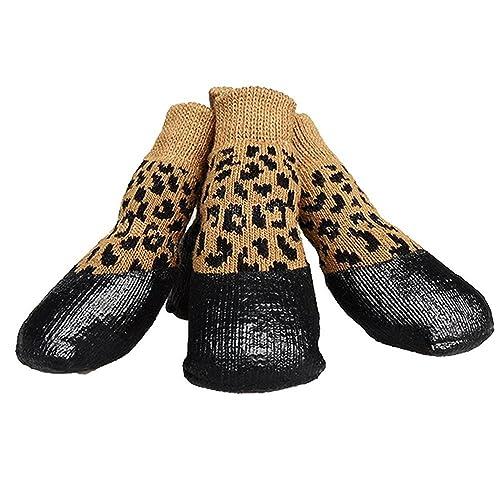 Calcetines Impermeables para Perros Calcetines Antideslizantes para Mascotas de algodón Calcetines Deportivos de otoño e Invierno calientan 4 Tallas 7 ...