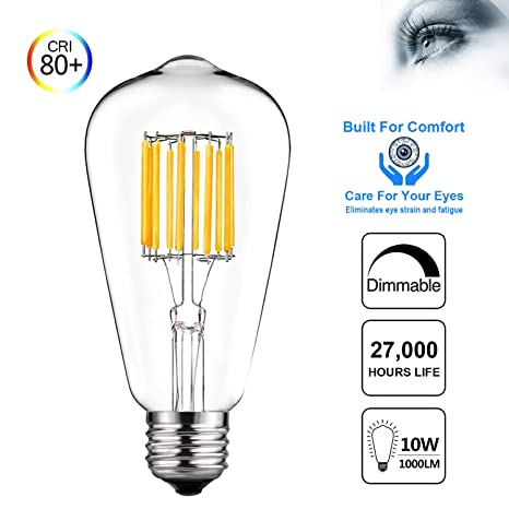 dtalent Vintage Edison ST64 regulable, bombilla LED 10 W=100 W equivalente antiguo luz