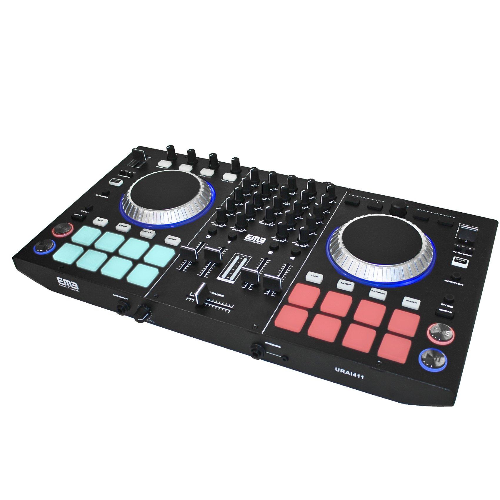 emb urai411 professional controller 4 channels ready dj mixer with effects 2 jog wheels. Black Bedroom Furniture Sets. Home Design Ideas