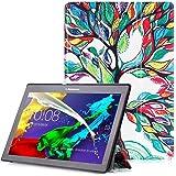 """Lenovo Tab 2 A10 / Tab3 10 Plus / Tab3 10 Business Cover - Custodia con Funzione Auto Sveglia / Sonno per Lenovo Tab 2 A10-30 / A10-70 / Tab3 10 Plus / Tab3 10 Business 10.1"""" Tablet, Albero Colorato"""