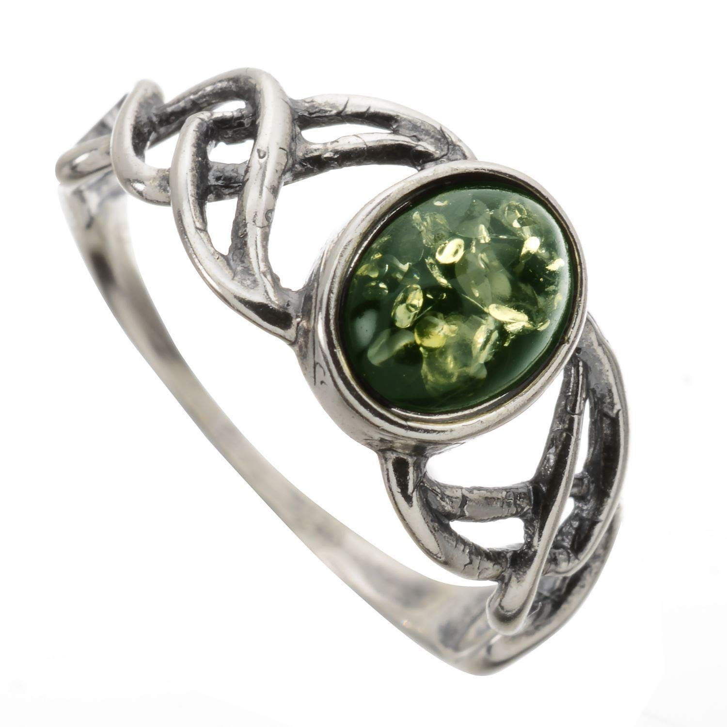 HolidayGiftShops Sterling Silver and Baltic Green Amber Ring Celtic Knots