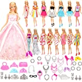 Barwa バービー用ドレス バービー用服 55枚セット=15枚ドレス+40個アクセサリー プリセンスドレス 子供の日