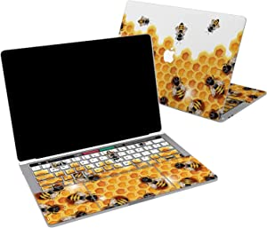 Lex Altern Vinyl Skin for MacBook Air 13 inch Mac Pro 16 15 Retina 12 11 2020 2019 2018 2017 Yellow Honey Bee Sweet Pattern Hexagon Cute Insect Cover Keyboard Decal Sticker Touch Bar Laptop Women