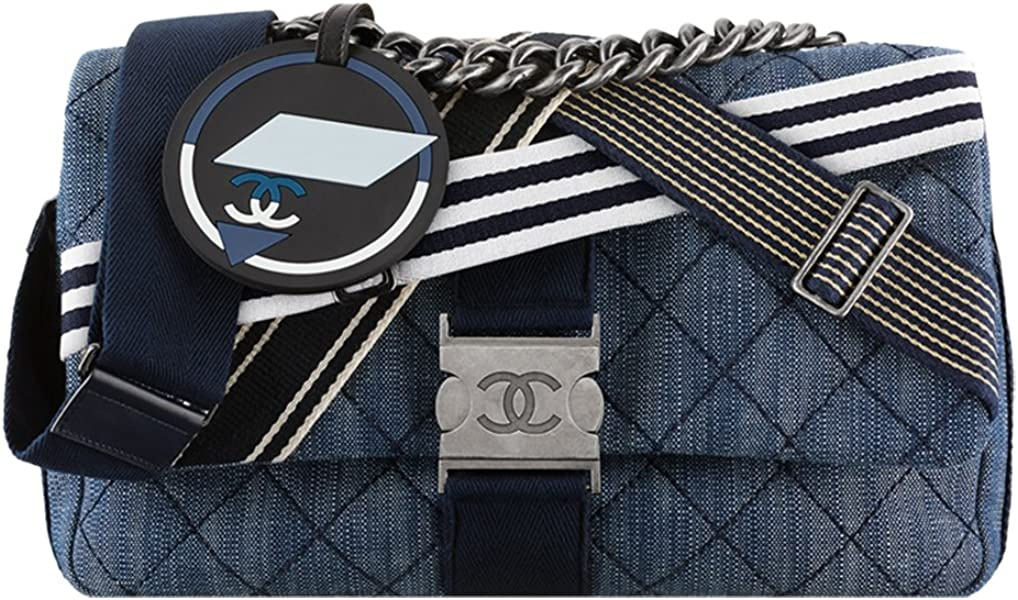 afe70f58917d82 Authentic Chanel Flap Bag Denim & Toile Navy Blue White Item A93314 Y60531  C4511 Made in France: Amazon.ca: Shoes & Handbags