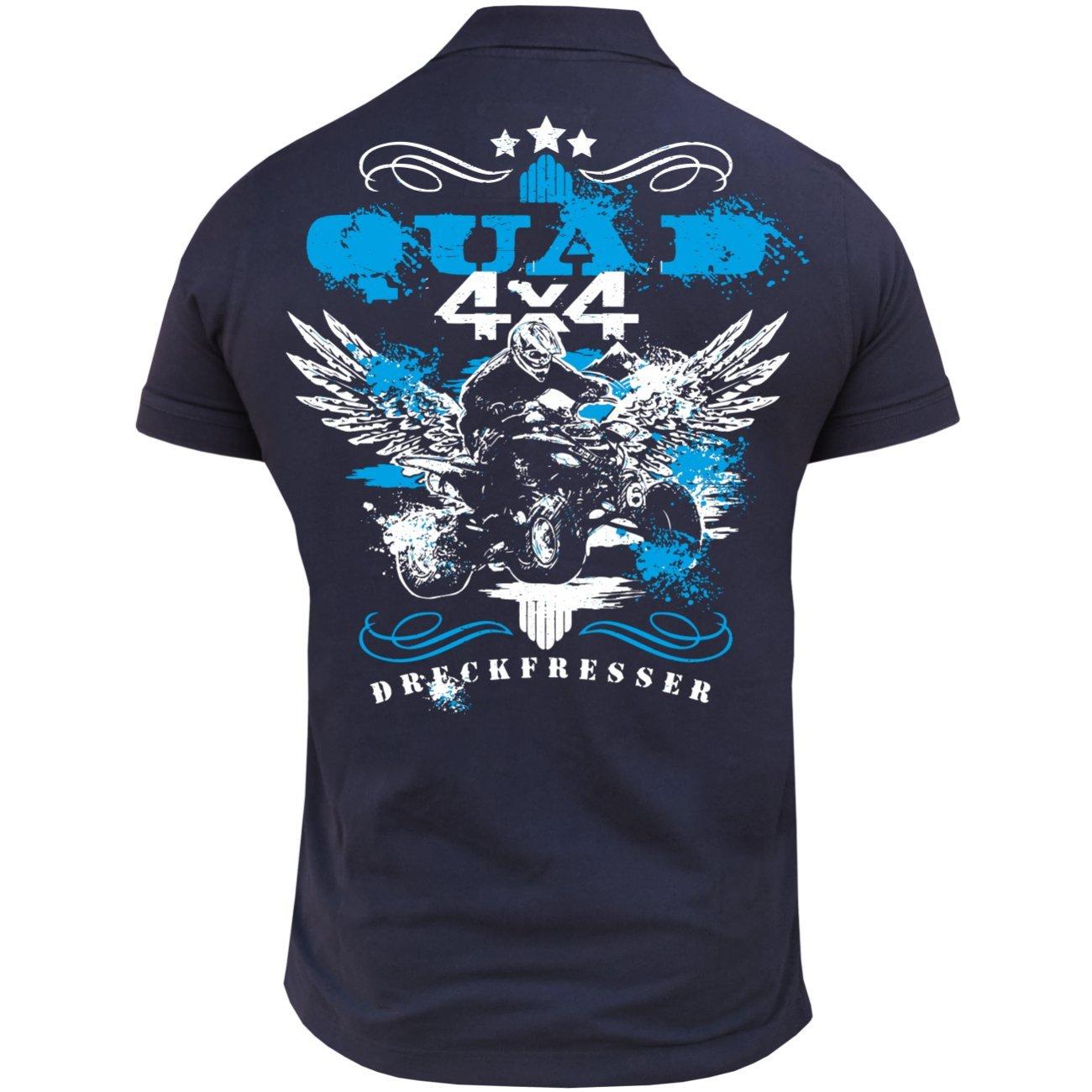 M/änner und Herren Polo Shirt Dreckfresser Quad mit R/ückendruck