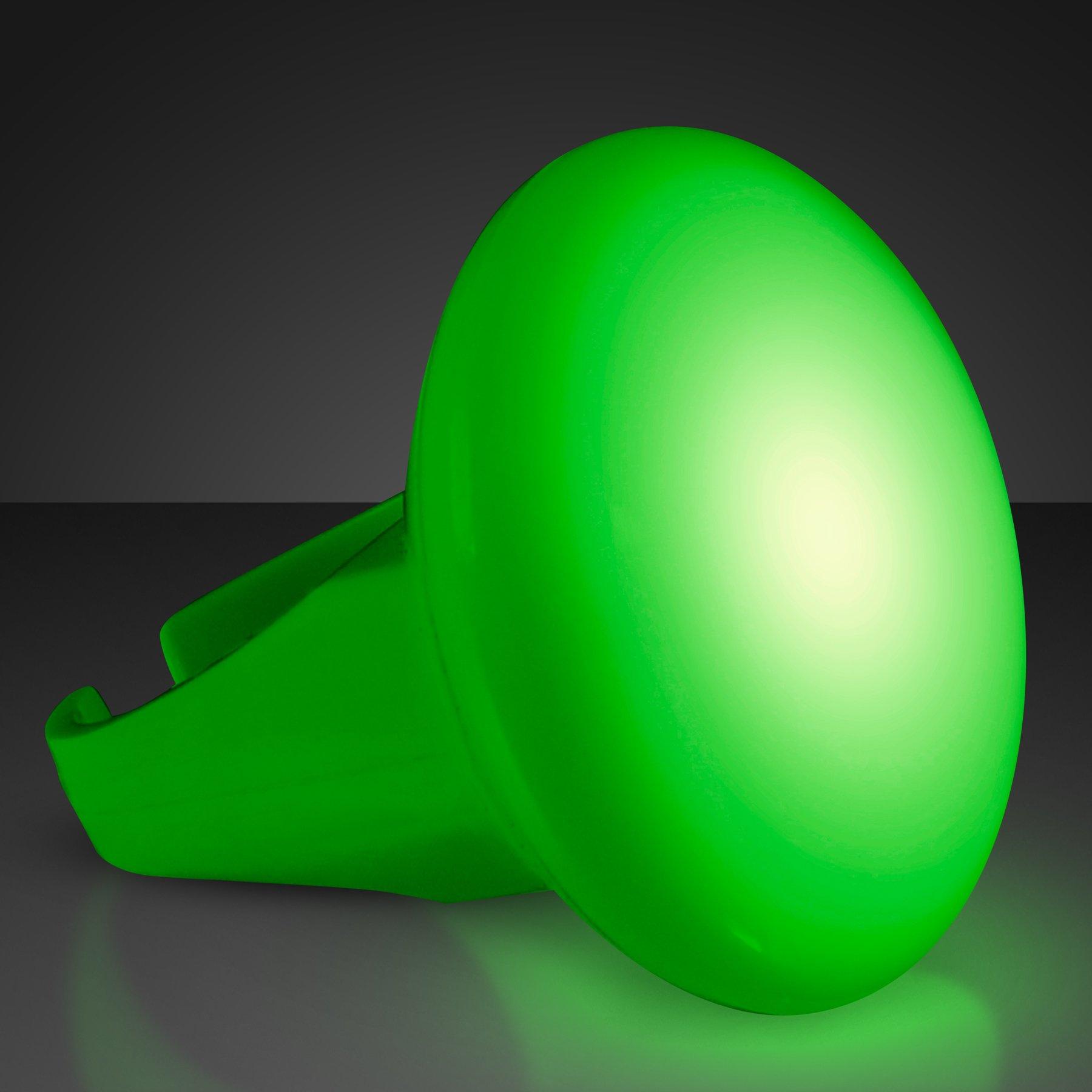 FlashingBlinkyLights Light Up Green Glowing LED Ring (Set of 12)