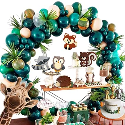 Forest Theme Party Decoration 148pcs10in Green Transparent Balloon Garland Arch Kit Green Leaves Dinosaur Birthday Country Wedding Baby Shower Jungle