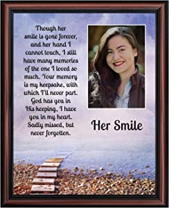 Sympathy Gifts for Loss of Mother, Condolence Gift, In Loving Memory Memorial Gifts for loss of Wife, Mom, Grandma or Sister, Bereavement Gifts to Remember Her Smile, Memorial Picture Frame, 5030W
