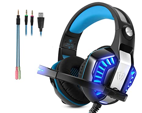 Cuffie Gaming Micolindun Microfono PC Headphone Gamer Microfono 3.5mm Basso  Stereo Volume Control LED per 7f8699eb32cd