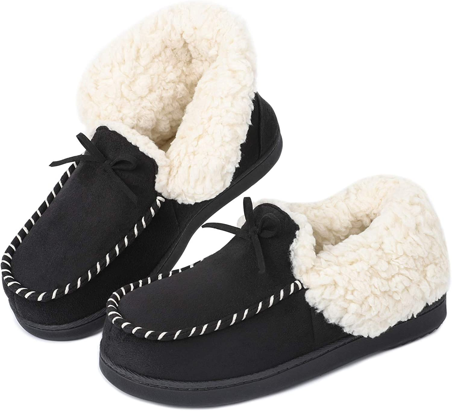 LongBay Women's Cozy Micro Suede Memory Foam Slippers with Sherpa Lining House Slippers for Indoor Or Outdoor