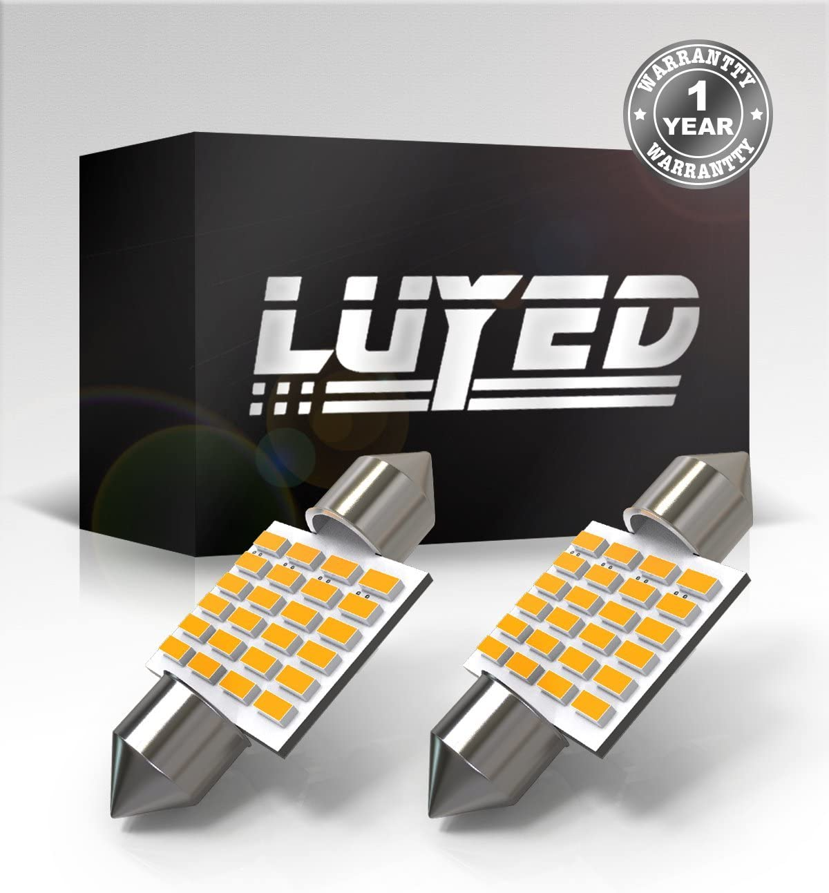 LUYED 2 X 300 Lumens Super Bright 3014 24-EX Chipsets 1.25 inches DE3175 DE3021 DE3022 3175 LED Bulbs Used For Dome light,Warm White