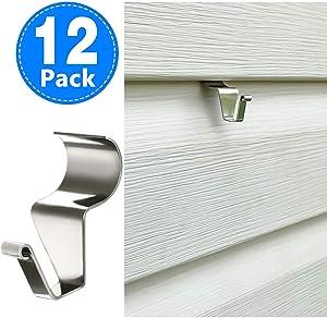 Aminigram Vinyl Siding Hooks for Hanging (12 Pack), Heavy Duty Stainless Steel Low Profile No-Hole Hanger Hooks
