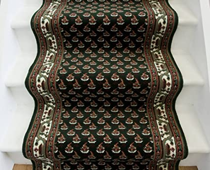 The Rug House Lima 49 Extra Long Thick Dark Green Bordered Stair Carpet Rugs - 70cm Wide