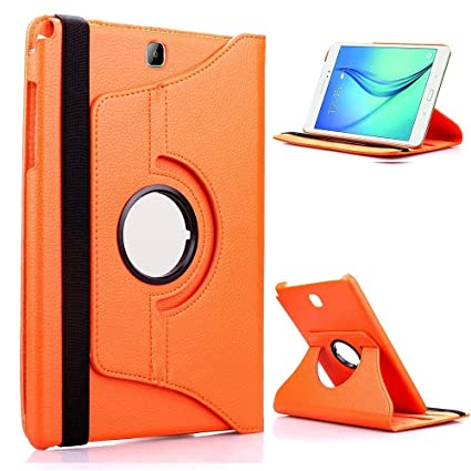 TGK 360 Degree Rotating Luxury Leather Stand Smart Case Cover for Samsung Galaxy Tab A SM  T550, SM  T551, SM  T555  9.7 Inch   Orange  General Purpos