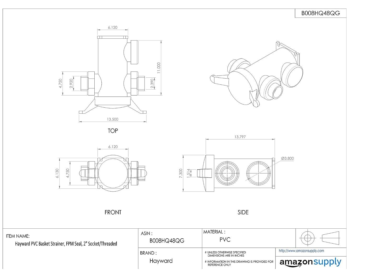 Hayward PVC Basket Strainer 2 Socket//Threaded FPM Seal