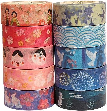 Japanese Washi Tape Gift Wrapping G Bullet Journal Planner 10 Rolls Kyoto Series Fireworks Swallow Sakura Flower Washi Masking Tape Set for Scrapbook Arts and DIY Crafts