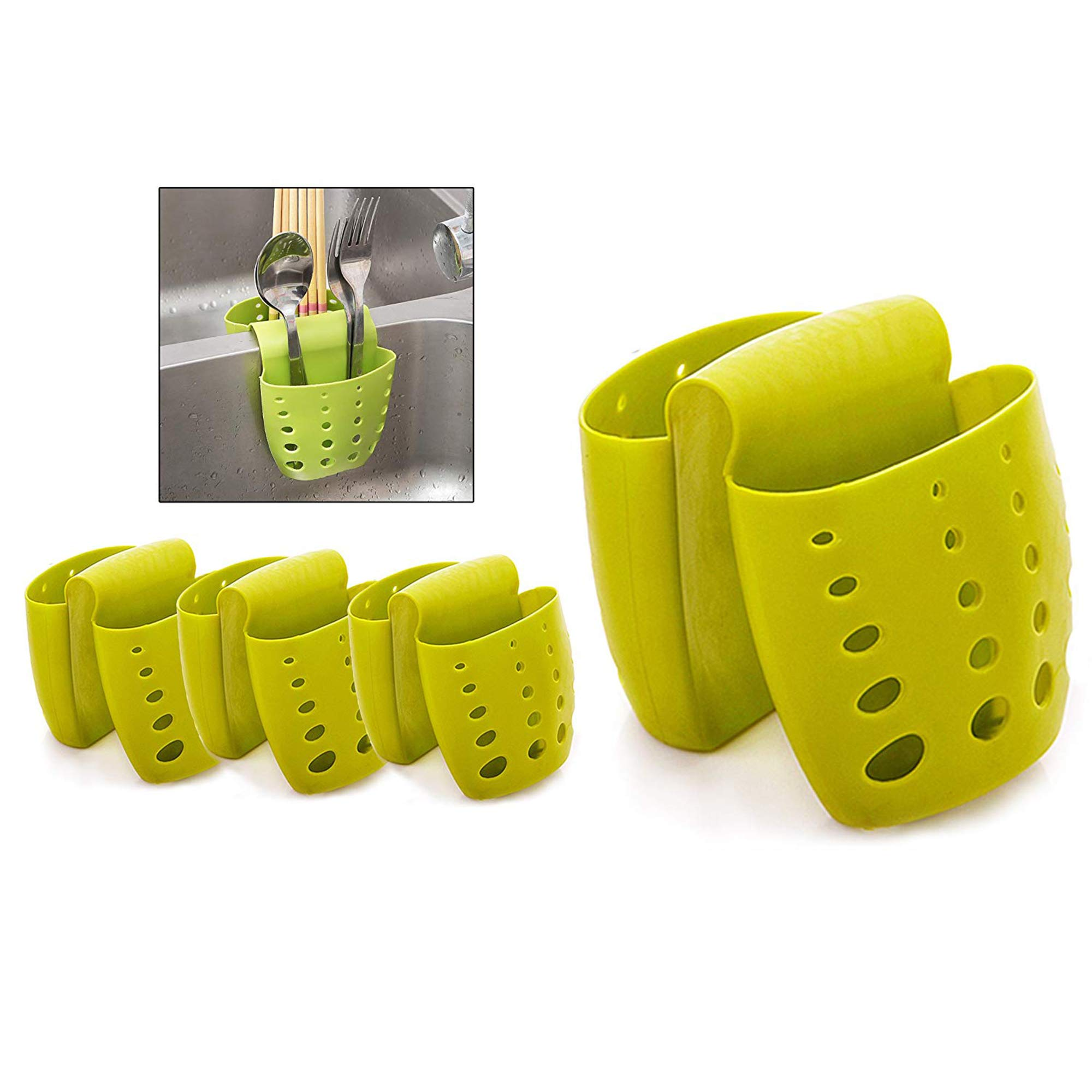 4PCS Sponge Sink Holder,Hanging Silicone Kitchen Gadget Storage Organizer,Baskets Drain Bag (Green)