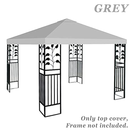 on sale a02c1 a4f5a Strong Camel Replacement 10'X10'Gazebo Canopy top Patio Pavilion Cover  Sunshade plyester Single Tier (Grey)