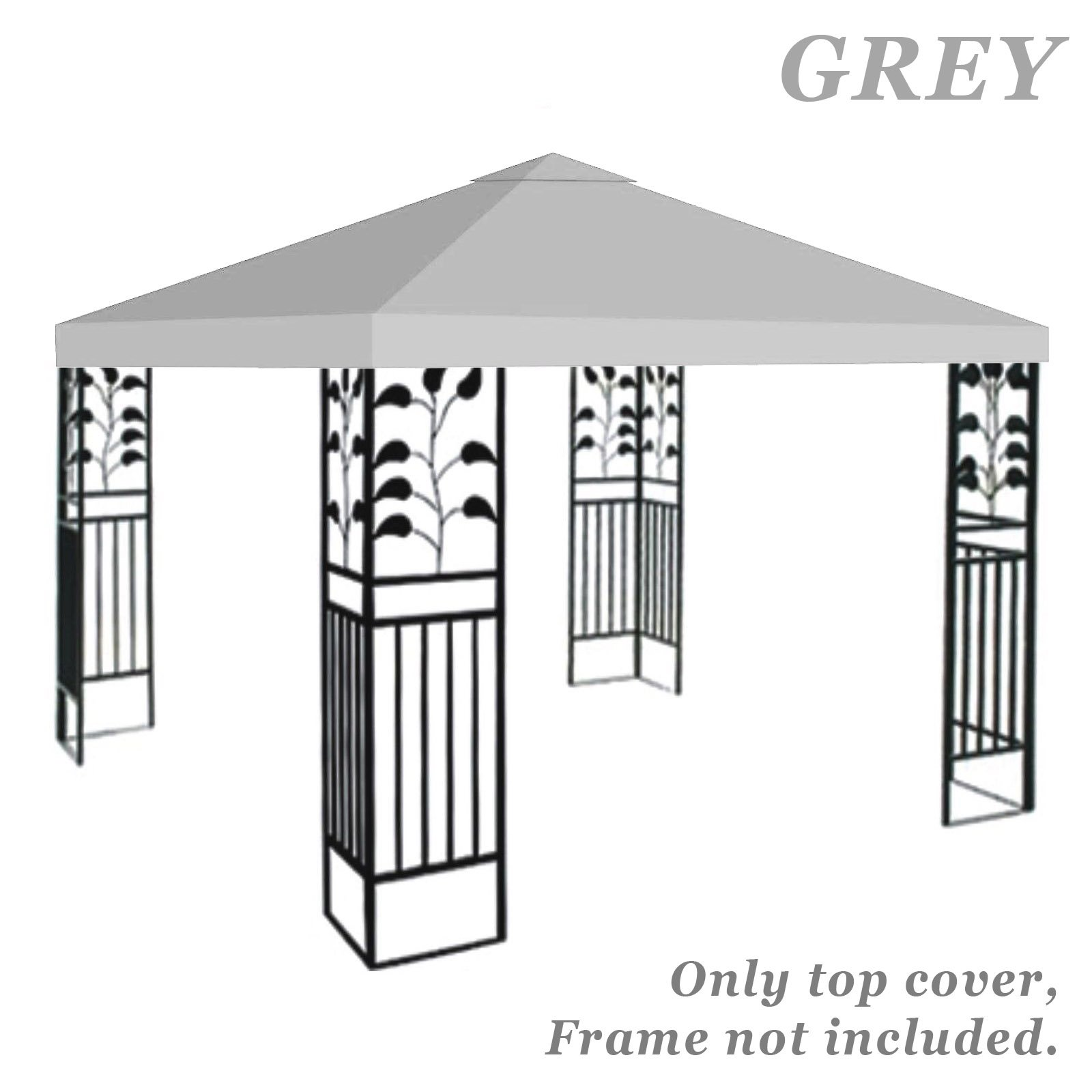STRONG CAMEL Replacement 10'X10'gazebo canopy top patio pavilion cover sunshade plyester single tier (Grey)