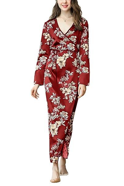 Dolamen Mujer Vestido Kimono Satén, Camisón para Mujer, Flores Florales Robe Albornoz Dama de