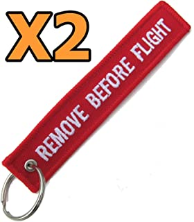 Remove Before Flight Warning Tag / Keyring / Keychain / Luggage Fob / Pitot Cover Control Lock Silver Bullet Trading