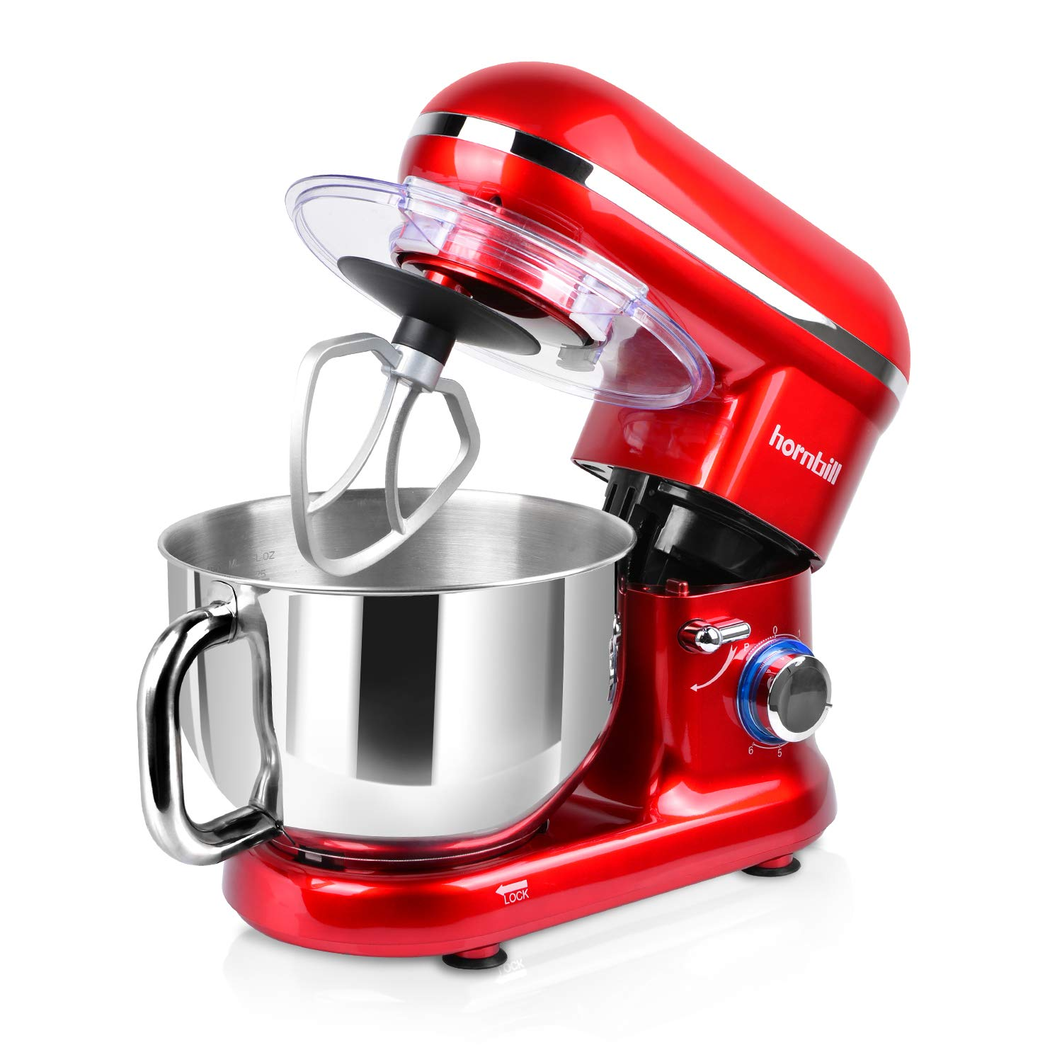 Hornbill Tilt-head Stand Mixer, Electric Mixer 600W 6-Speed 5-Quart Stainless Steel Bowl Professional Kitchen Mixer With Dough Hook, Whisk, Beater(Red) by Hornbill (Image #1)
