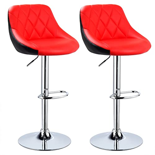 Set Of 2 Red & Chrome Bahama Kitchen / Bar Stools. (Pair
