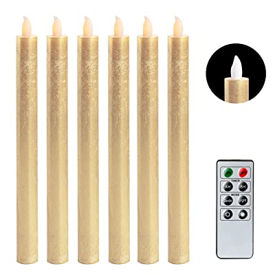 "DRomance Flameless Taper Candles Flickering with Remote and Timer, Set of 6 Real Wax Battery Operated LED Taper Candles Christmas Decoration(Gold, 0.78"" x 9.64""): Home Improvement"