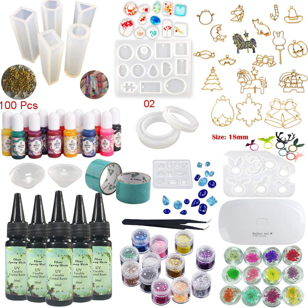Epoxy Resin UV Glue Kit Crystal Clear Transparent with Lamp Tweezers 36 Decorations 11 Silicone Moulds 13 Colour Liquid Pigments 17 Bezels for Pendants + 2 Tapes 100 Eyelets for Jewellery Making