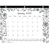 Blueline 2017 Monthly Coloring Mini Desk Pad Calendar, Garden, January - December, 11 x 8.5 inches (C2917213-17)