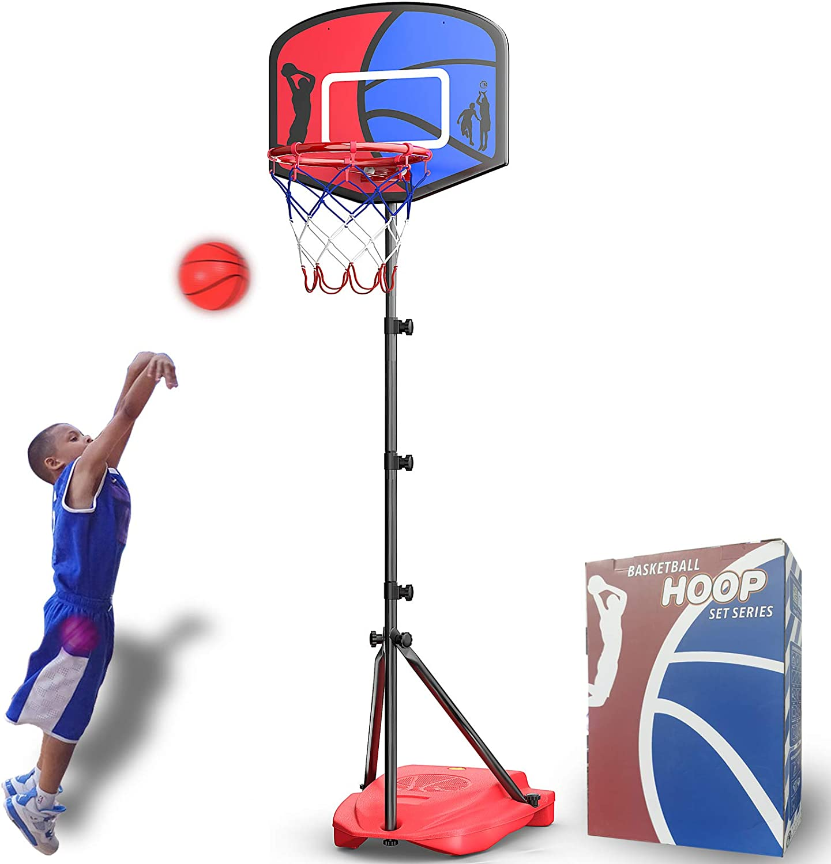 HAHAKEE Panier de Basket pour Enfants,Ajustable Portable Ensemble de Basket,Jeux Intérieur Exterieur Jouet Ballon de Basket avec Ballon et Pompe pour Garçon Fille 3-8 Ans