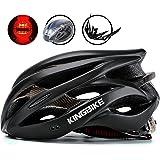 KINGBIKE Adult/Youth Bike Helmet, with Helmet Rain Cover/Detachable Visor/Safety Rear Led Light/Lightweight