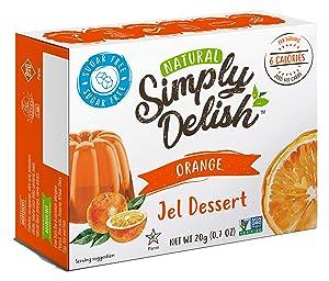 Simply Delish Natural Orange Jel Dessert - Sugar Free, Non GMO, Gluten Free, Fat Free, Lactose Free, Keto Friendly - 0.7 OZ (Pack of 6)