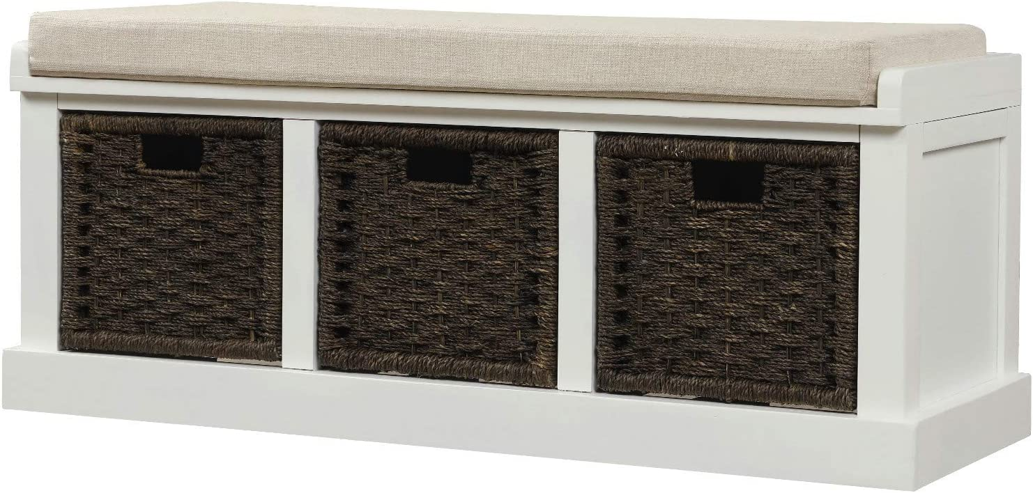 Knocbel Home Collection Wicker Storage Bench Solid Wood Cabinet with 3 Woven Baskets & Removable Comfort Cushion, Fully Assembled, 41.3