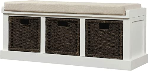 Knocbel Home Collection Wicker Storage Bench Solid Wood Cabinet