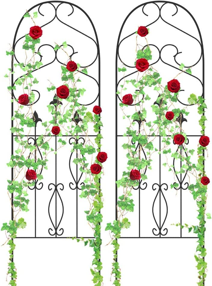 "Amagabeli Garden Trellis for Climbing Plants 60"" x 18"" Rustproof Black Iron Potted Vines Vegetables Flowers Patio Metal Wire Lattice Grid Panels for Ivy Roses Cucumbers Clematis Pots Supports 2 Pack"