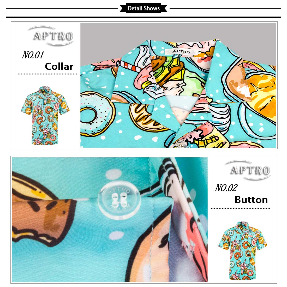 APTRO Mens Hawaiian Shirt Short Sleeve Beach Aloha Party Shirt