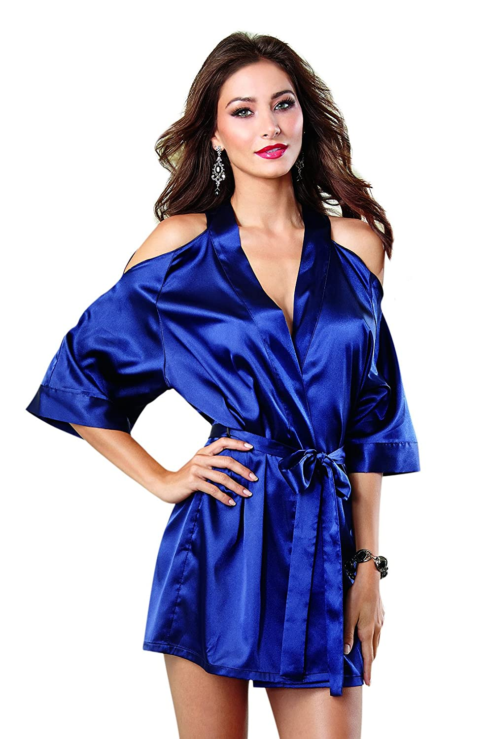 Dreamgirl Sexy Satin Cut-Out Cold Shoulder Kimono Robe (Midnight Blue)(UK 12-14)