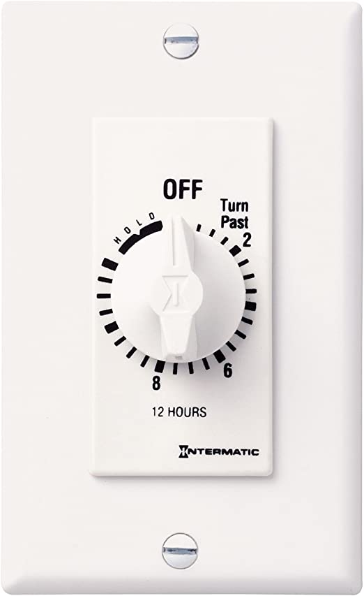 Intermatic FF12HHC 12-Hour Spring Loaded Wall Timer Brushed Metal Finish