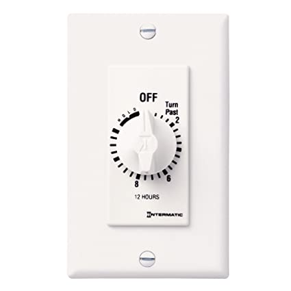 Intermatic FD12HHW 12-Hour Spring-Loaded In-Wall Timer Switch for Auto-Off  control of Fans and Lights with Hold, White