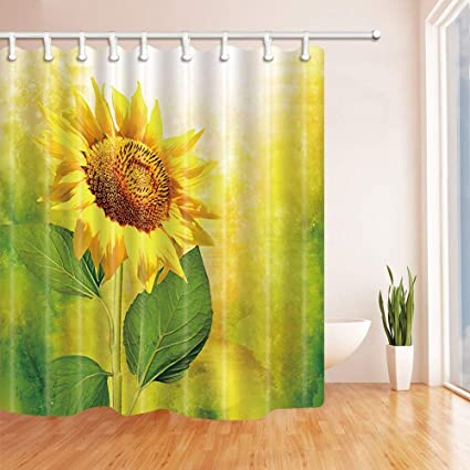 SZZWY Sunflower Shower Curtains Splashing Sunflowers In Yellow Mildew Resistant Polyester Fabric Bath For Bathroom