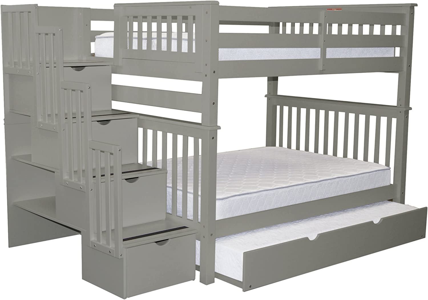 Bedz King Stairway Bunk Beds Full over Full with 4 Drawers in the Steps and a Twin Trundle, Gray