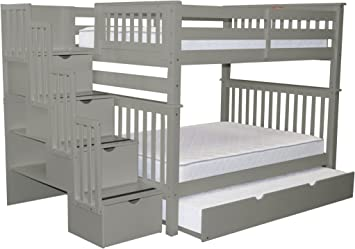 Amazon Com Bedz King Stairway Bunk Beds Full Over Full With 4 Drawers In The Steps And A Twin Trundle Gray Furniture Decor