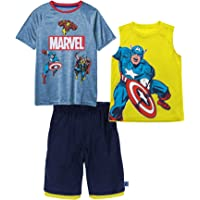 Marvel Avengers Boys Superhero Short Sleeve T-Shirt, Tank Top and Mesh Shorts Set