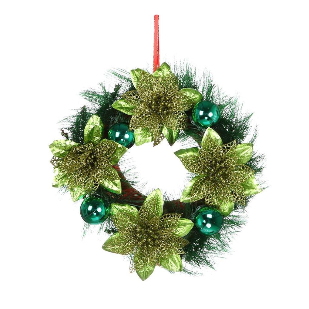 Rameng Couronne de No/ël Fleurs Artificielles Guirlande de No/ël Christmas Cheminee Couronne Pour la F/ête de No/ël