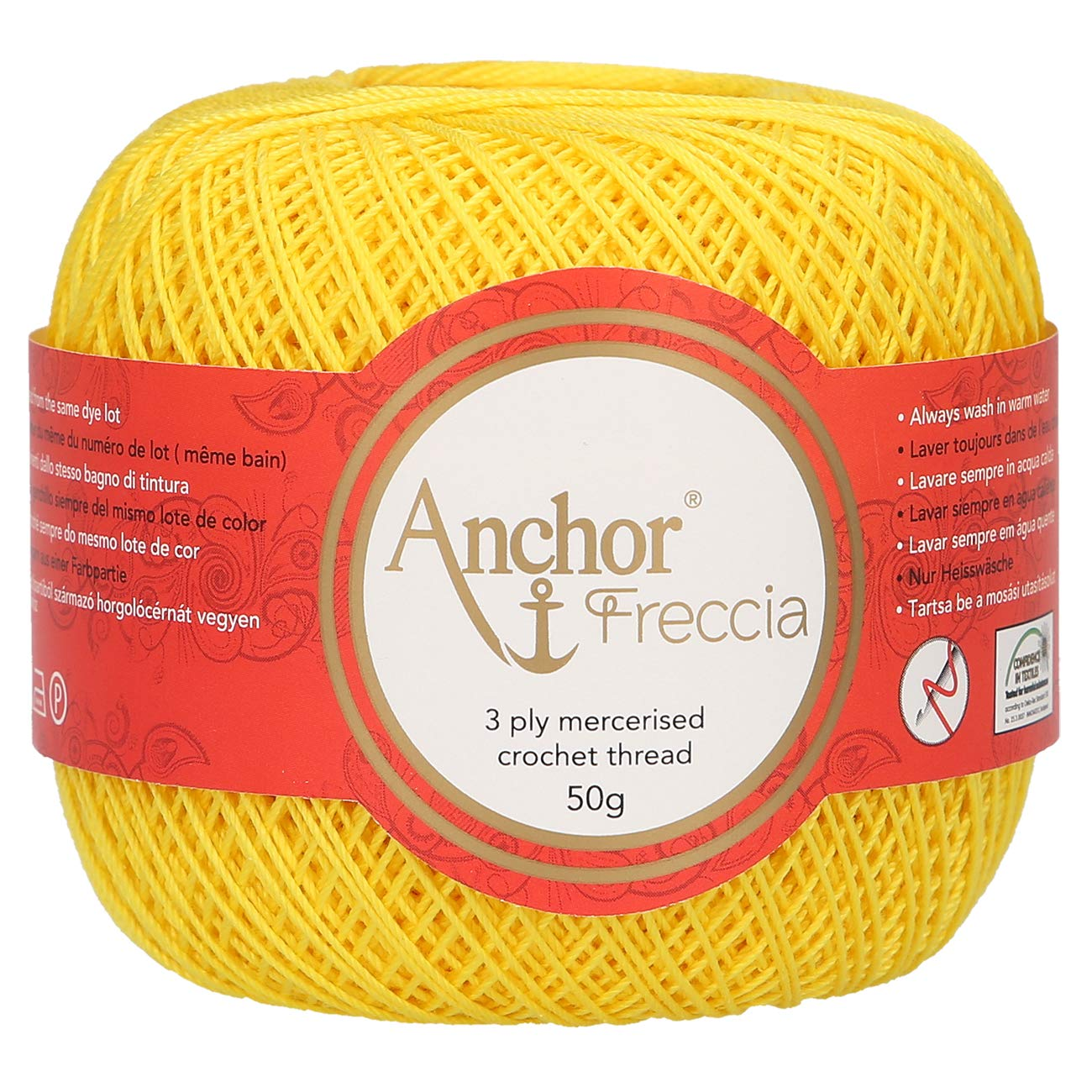 100 /% Baumwolle Anchor Freccia St/ärke 12 4771012-00006 orange H/äkelgarn