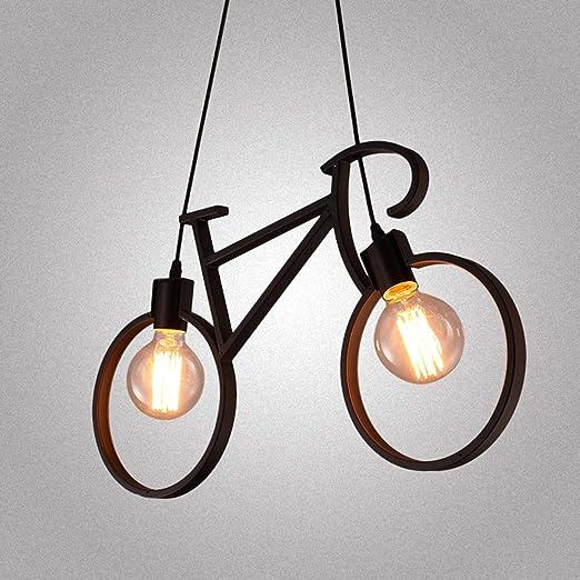 LSY-NARIV Nórdico Bicicleta Arte De Hierro Lámpara De Techo (2 ...