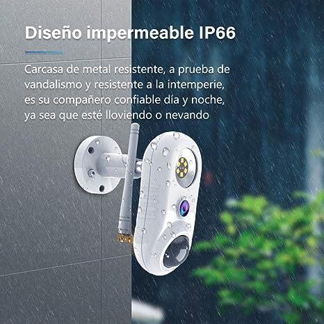 Camara Vigilancia WiFi Interior Exterior con Luz-NIYPS 1080P IP66 Camara IP Seguridad con Detección de Movimiento PIR,Audio Bidirecciona y Visión ...